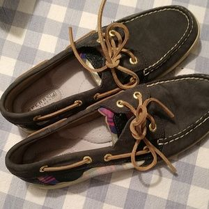 Sperry topsider lace plaid navy shoes
